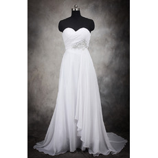 Elegant Empire Sweetheart Long Chiffon Wedding Dresses/ Modest Beaded Waist Bride Gowns with Diagonal Pleat