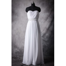 Beautiful Empire Sweetheart Sleeveless Full Length Chiffon Wedding Dress/ Pleated Bride Gowns with Rhinestone and Beading