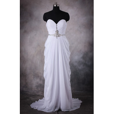Stylish Column Sweetheart Sweep Train Pleated Chiffon Wedding Dresses/ Charming Pick-up Skirt Bride Gowns with Rhinestone