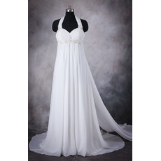 Affordable Empire Halter Sleeveless Court Train Flowing Chiffon Wedding Dresses/ Summer Pleated Maternity Bride Gowns