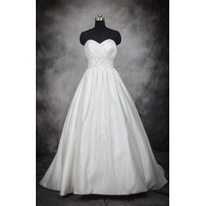 Elegant Ball Gown Sweetheart Court Train Pleated Satin Wedding Dresses/ Dramatic Crystal Beaded Waist Bride Gowns