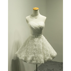 Romantic Ball Gown Ruched Organza Bodice Short Wedding Dresses with Floral Lace Skirt