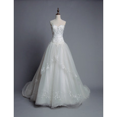 Alluring Ball Gown Sweetheart Chapel Train Wedding Dresses/ Romantic Appliques Pleated Tulle Bride Gowns
