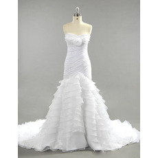 Stunning Sweetheart Chapel Train Layered Skirt Wedding Dresses/ Feminine Chiffon Organza Ruched Bride Gowns