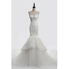 Feminine Rhinestone Sweetheart Neckline Chapel Train Lace Tulle Wedding Dresses/ Dramatic Illusion Back Bride Gowns