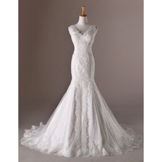 Elegance Trumpet V-Neck Chapel Train Appliques Tulle Wedding Dresses/ Feminine Wide Straps Bride Gowns