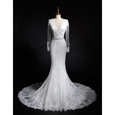 Dreamy Crystal Beading Sheath V-Neck Lace Wedding Dresses with Long Tulle Sleeves
