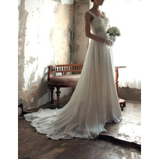 Glamorous Wide Straps Sweetheart Sweep Train Chiffon Wedding Dresses/ Gorgeous Crystal Beading Bride Gowns