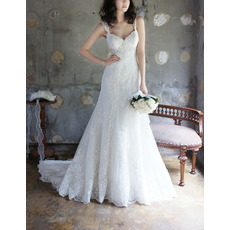 Glamorous Sweetheart Wide Straps Sweep Train Tulle Wedding Dresses/ Exquisite Appliques Beaded Bride Gowns