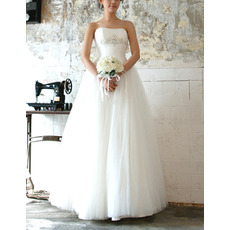 Glamorous Ball Gown Strapless Full Length Tulle Wedding Dresses/ Dreamy Crystal Beaded Bride Gowns