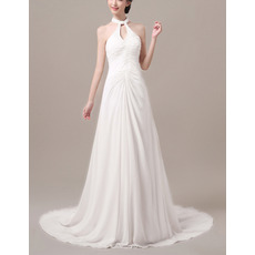 Stylish Sheath Beaded Halter Neck Sleeveless Long Train Chiffon Wedding Dresses/ Sexy Open Back Pleated Bride Gowns