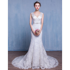 Stylish Sheath V-Neck Court Train Lace Wedding Dresses/ Dramatic Beaded Crystal Bride Gowns with Open Back
