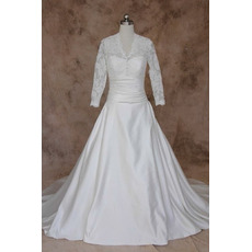 Classic A-Line V-Neck Lace Satin Wedding Dresses with Long Sleeves/ Elegant Button Bride Gowns with Ruched Waist