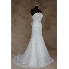 Stylish New Style Sheath Strapless Full Length Lace Wedding Dresses with Belts/ Elegant Low Back Button Bride Gowns