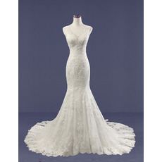Stylish Mermaid V-Neck Court Train Tulle Over Satin Wedding Dresses with Beaded Applique