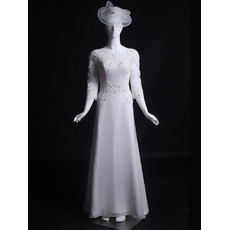 Discount Beaded Appliques Court Train Chiffon Wedding Dresses with 3/4 Long Sleeves/ Inexpensive Beach Bride Gowns