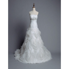 Attractive Strapless Floral Chapel Train Wedding Dresses/ Romantic Ruched Bodice Bride Gowns with Crystal Beading