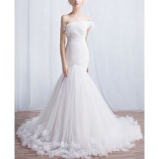 Designer Mermaid Asymmetric Court Train Organza Wedding Dresses