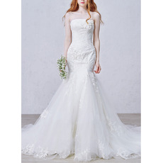Affordable Trumpet Strapless Chapel Train Applique Wedding Dresses