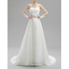 Discount Vintage A-Line Sweetheart Sweep Train Lace Wedding Dresses