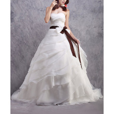 Romantic Ball Gown Organza Layered Skirt Wedding Dresses with Belts/ Exquisitely Ruched Bust Bride Gowns