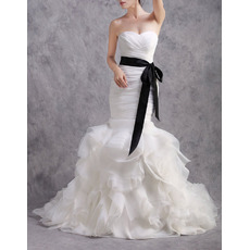 Glamorous Mermaid Sweetheart Ruffle Skirt Wedding Dresses with Belts/ Exquisitely layered Bride Gowns with Ruched
