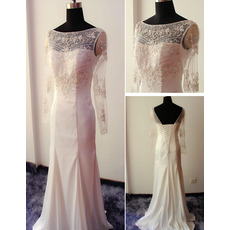 Shimmering Beaded Rhinestone Chiffon Wedding Dresses with Long Sleeves