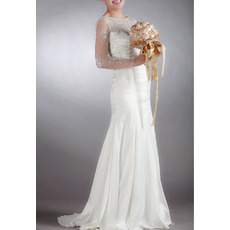 Dramatic Sheath Illusion Tulle Neckline Wedding Dresses with Long Sheer Sleeves/ Delicate Beaded Rhinestone Bride Gowns