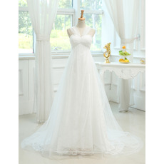 Feminine Empire Sweetheart Long Train Wedding Dresses with Straps/ Discount Ruched Lace Tulle Bride Gowns