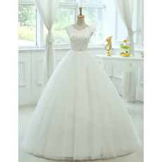 Elegance Ball Gown V-Neck Floor Length Tulle Wedding Dresses/ Exquisite Crystal Appliques Bride Gowns with Slight Cap Sleeves