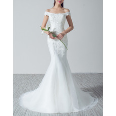 Stunning Off-the-shoulder Tulle Wedding Dresses/ Delicate Appliques Beaded Bride Gowns
