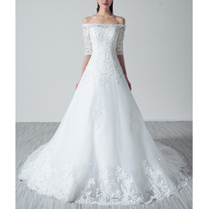 Feminine Off-the-shoulder Tulle Wedding Dresses with Half Sleeves/ Delicate Appliques Beaded Bride Gowns