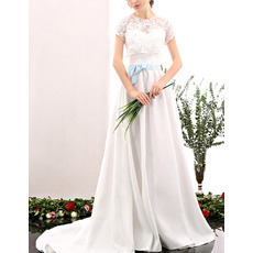 Elegance Long Length Satin Wedding Dress with Lace Shirt Blouse and Colored Belt/ Understated Sweetheart Bride Gowns