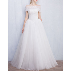 Classy Ball Gown Strapless Lace Tulle Wedding Dresses with Detachable Wraps/ Fashionable Pleated Skirt Bride Gowns