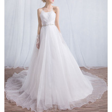 Romantic Strapless Chapel Train Organza Wedding Dresses/ Ethereal Crystal Beaded Waist Bride Gowns