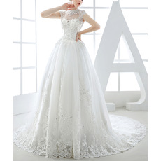 Luxurious Beading Appliques Crew Neck Tulle Wedding Dress with Cap Sleeves and Illusion Back