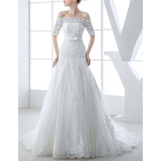 Romantic Beading Appliques Off-the-shoulder Organza Wedding Dresses with Short Sleeves