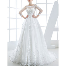 Custom Chapel Train Organza Applique Wedding Dresses with Long Sleeves