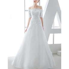 Affordable A-Line Off-the-shoulder Wedding Dresses with Short Sleeves