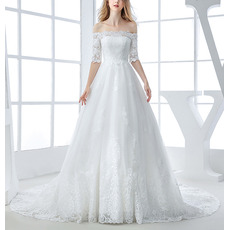 Modern Princess Floral Applique Off-the-shoulder Tulle Wedding Dresses with Half Sleeves