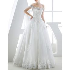 Custom Ball Gown Off-the-shoulder Full Length Organza Wedding Dresses
