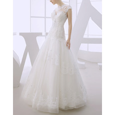 Luxury Beading Appliques Ball Gown Organza Wedding Dresses with Open Back