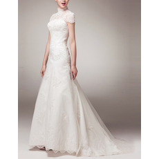 Vintage High-Neck Appliques Tulle Wedding Dress with Cap Sleeves and Dramatic Illusion Back