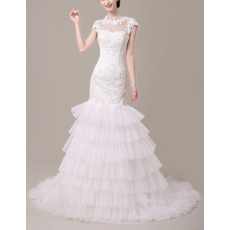 New Style Sheath Cap Sleeves Tulle Layered Skirt Wedding Dresses