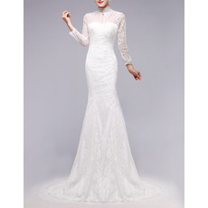Classic Sheath High Neck Lace Wedding Dresses with Long Sleeves and Keyhole