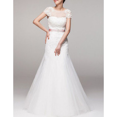 Inexpensive A-Line Cap Sleeves Floor Length Wedding Dresses with Belts
