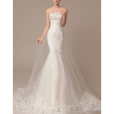Gorgeous Crystal Beading Strapless Tulle Over Satin Wedding Dresses with Appliques