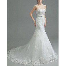 Graceful Beading Appliques Sweetheart Court Train Tulle Wedding Dresses