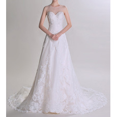 Custom Sweetheart Sheer Neckline Court Train Tulle Wedding Dresses