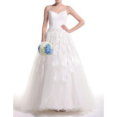 Elegantly Appliques Ball Gown Spaghetti Straps Tulle Wedding Dresses with Beaded Waist